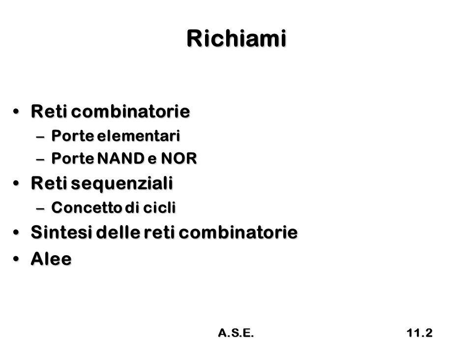 Richiami Reti combinatorieReti combinatorie –Porte elementari –Porte NAND e NOR Reti sequenzialiReti sequenziali –Concetto di cicli Sintesi delle reti combinatorieSintesi delle reti combinatorie AleeAlee 11.2A.S.E.