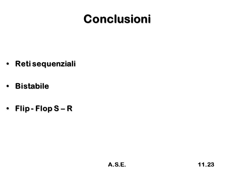 Conclusioni Reti sequenzialiReti sequenziali BistabileBistabile Flip - Flop S – RFlip - Flop S – R 11.23A.S.E.