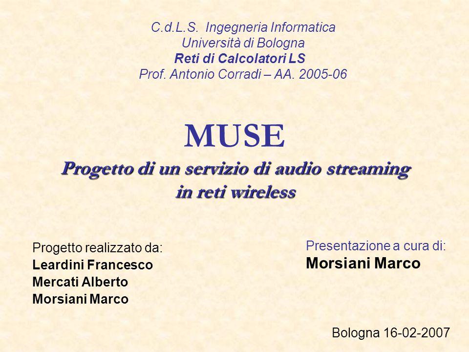 MUSE Progetto di un servizio di audio streaming in reti wireless Progetto realizzato da: Leardini Francesco Mercati Alberto Morsiani Marco Bologna 16-02-2007 Presentazione a cura di: Morsiani Marco C.d.L.S.