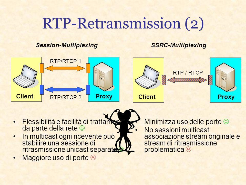 RTP-Retransmission (1) Proposta di estensione del protocollo RTP studiata per la ritrasmissione di pacchetti persi, efficace in applicazioni real-time
