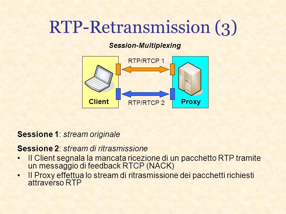 RTP-Retransmission (2) Flessibilità e facilità di trattamento da parte della rete In multicast ogni ricevente può stabilire una sessione di ritrasmiss