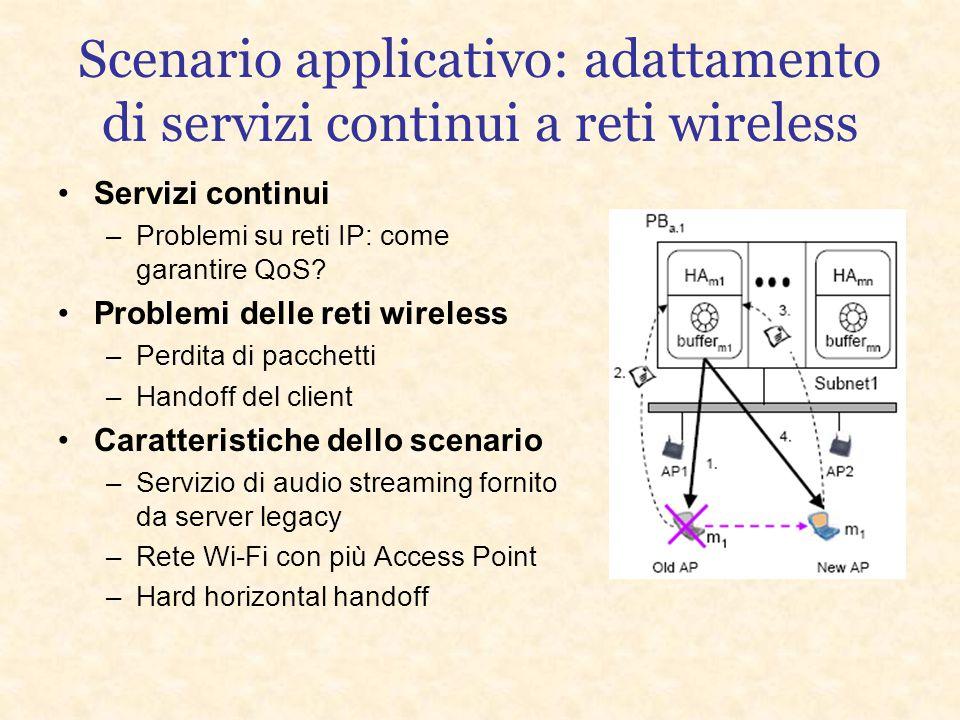 Scenario applicativo: adattamento di servizi continui a reti wireless Servizi continui –Problemi su reti IP: come garantire QoS.