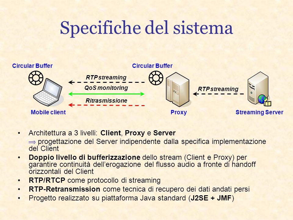 Specifiche del sistema RTP streaming QoS monitoring Ritrasmissione RTP streaming Architettura a 3 livelli: Client, Proxy e Server  progettazione del Server indipendente dalla specifica implementazione del Client Doppio livello di bufferizzazione dello stream (Client e Proxy) per garantire continuità dell'erogazione del flusso audio a fronte di handoff orizzontali del Client RTP/RTCP come protocollo di streaming RTP-Retransmission come tecnica di recupero dei dati andati persi Progetto realizzato su piattaforma Java standard (J2SE + JMF) Mobile client Proxy Streaming Server Circular Buffer