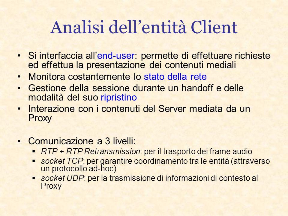 Architettura del sistema Server Proxy A.P. Client Handoff Riconnessione e Streaming Connessione e Streaming Handoff Riconnessione e Streaming Connessi