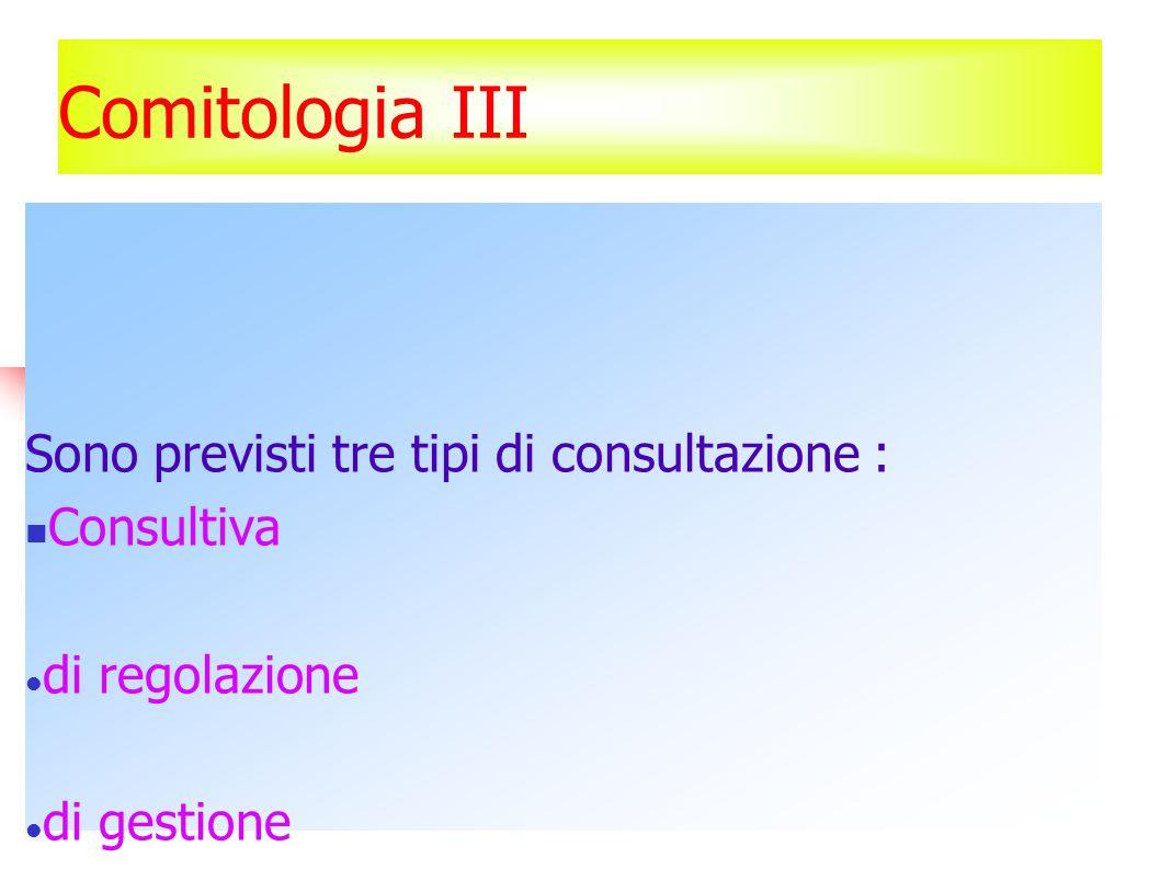 Comitologia III Sono previsti tre tipi di consultazione : Consultiva di regolazione di gestione E' la legislazione stessa a determinare quale di queste tre procedure deve essere seguita.
