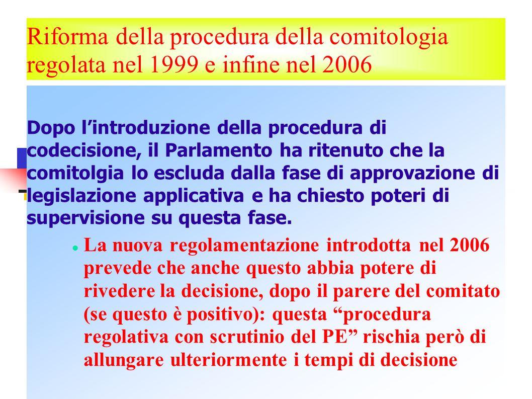 Riforma della procedura della comitologia regolata nel 1999 e infine nel 2006 Dopo l'introduzione della procedura di codecisione, il Parlamento ha ritenuto che la comitolgia lo escluda dalla fase di approvazione di legislazione applicativa e ha chiesto poteri di supervisione su questa fase.