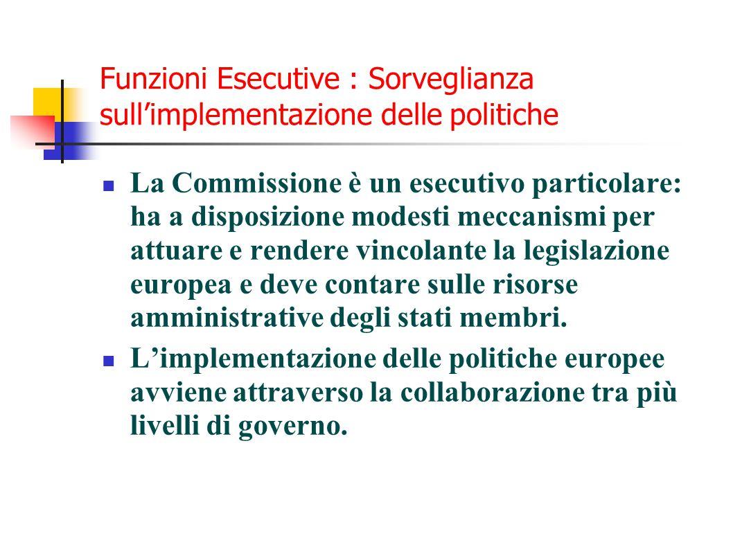 Funzioni Esecutive : Sorveglianza sull'implementazione delle politiche La Commissione è un esecutivo particolare: ha a disposizione modesti meccanismi per attuare e rendere vincolante la legislazione europea e deve contare sulle risorse amministrative degli stati membri.