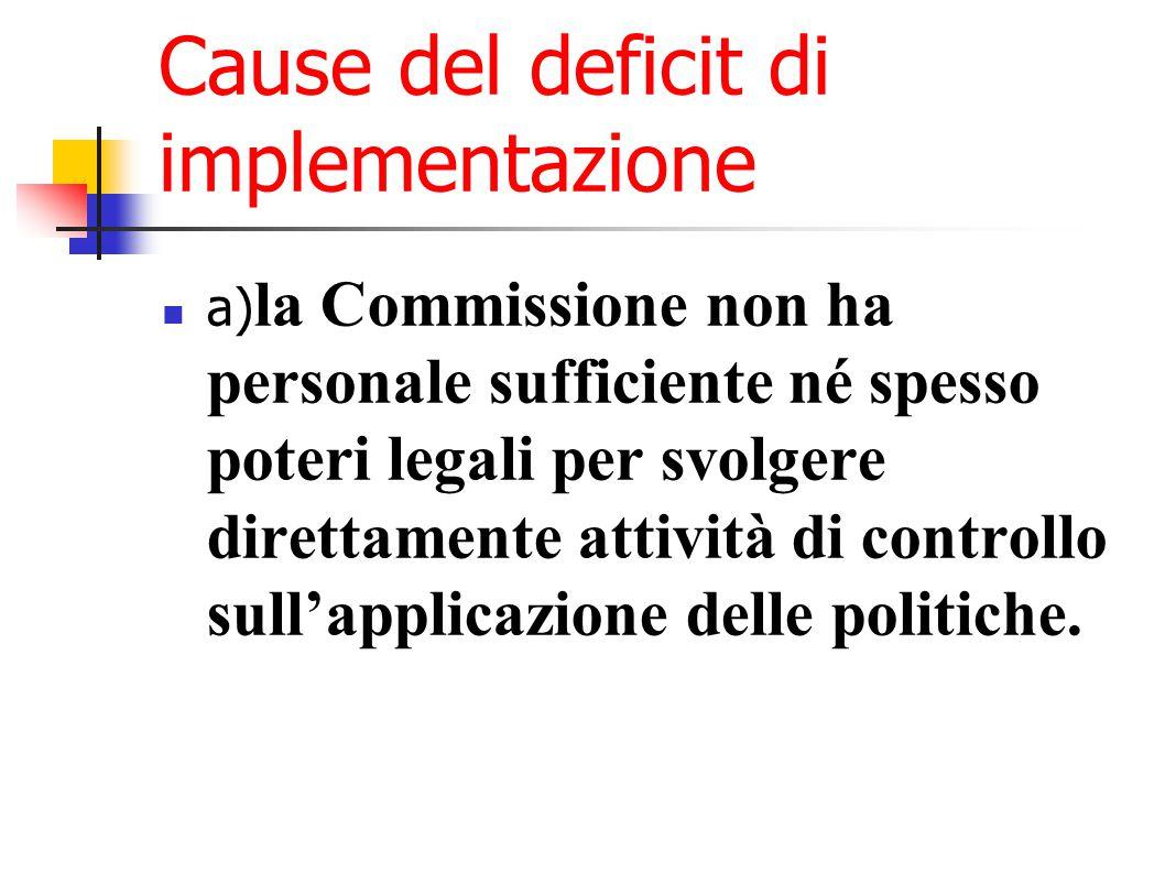 Cause del deficit di implementazione a) la Commissione non ha personale sufficiente né spesso poteri legali per svolgere direttamente attività di controllo sull'applicazione delle politiche.