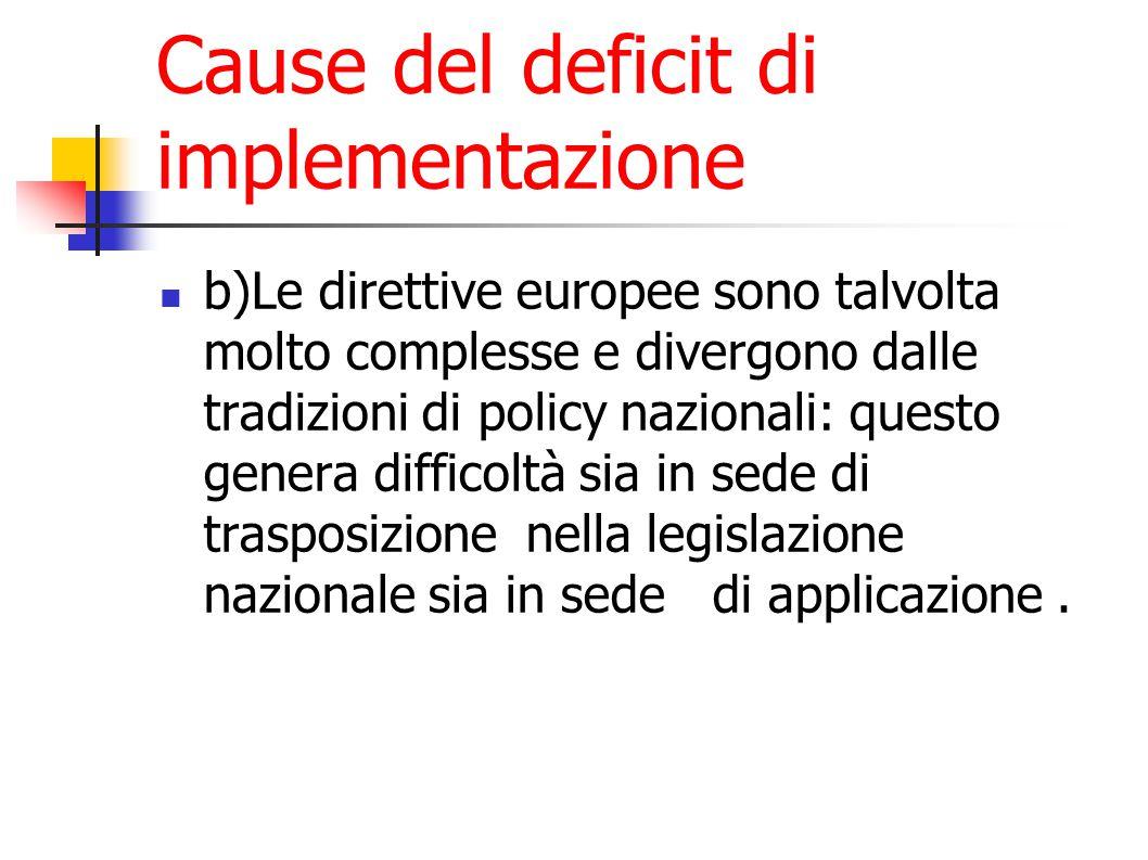 Cause del deficit di implementazione b)Le direttive europee sono talvolta molto complesse e divergono dalle tradizioni di policy nazionali: questo genera difficoltà sia in sede di trasposizione nella legislazione nazionale sia in sede di applicazione.
