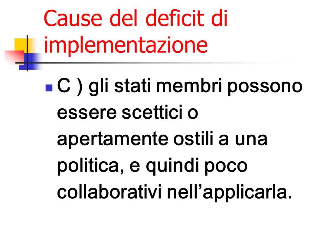 Cause del deficit di implementazione C ) gli stati membri possono essere scettici o apertamente ostili a una politica, e quindi poco collaborativi nell'applicarla.