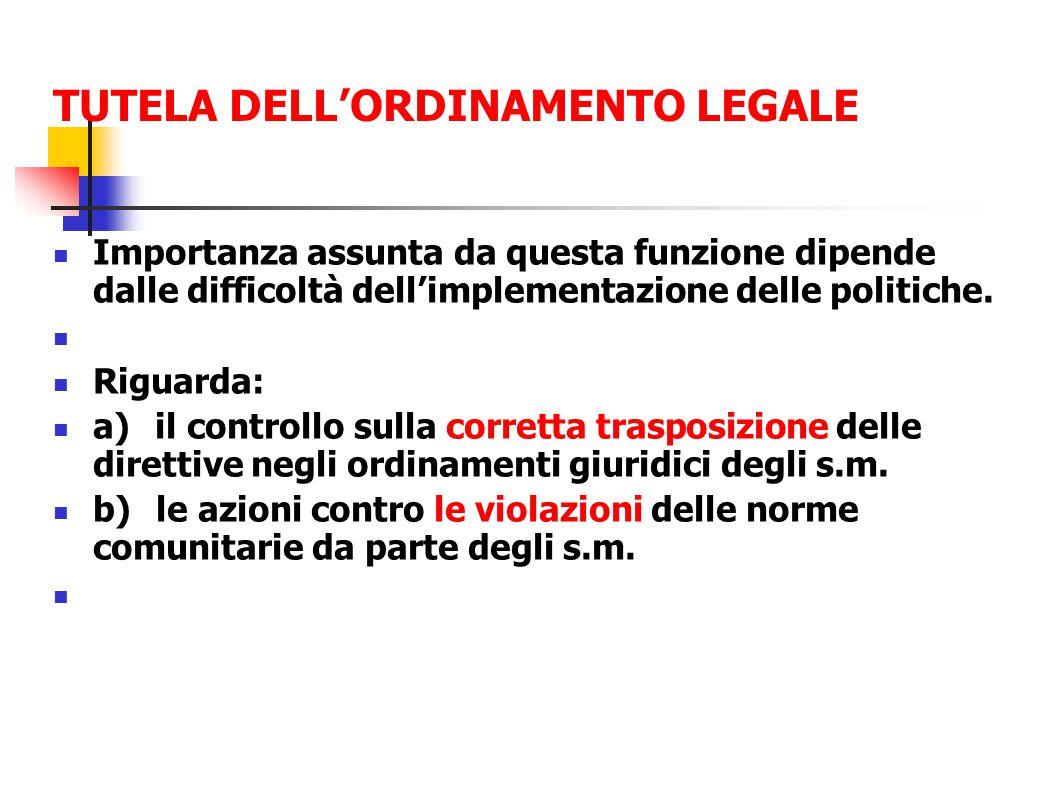 TUTELA DELL'ORDINAMENTO LEGALE Importanza assunta da questa funzione dipende dalle difficoltà dell'implementazione delle politiche.