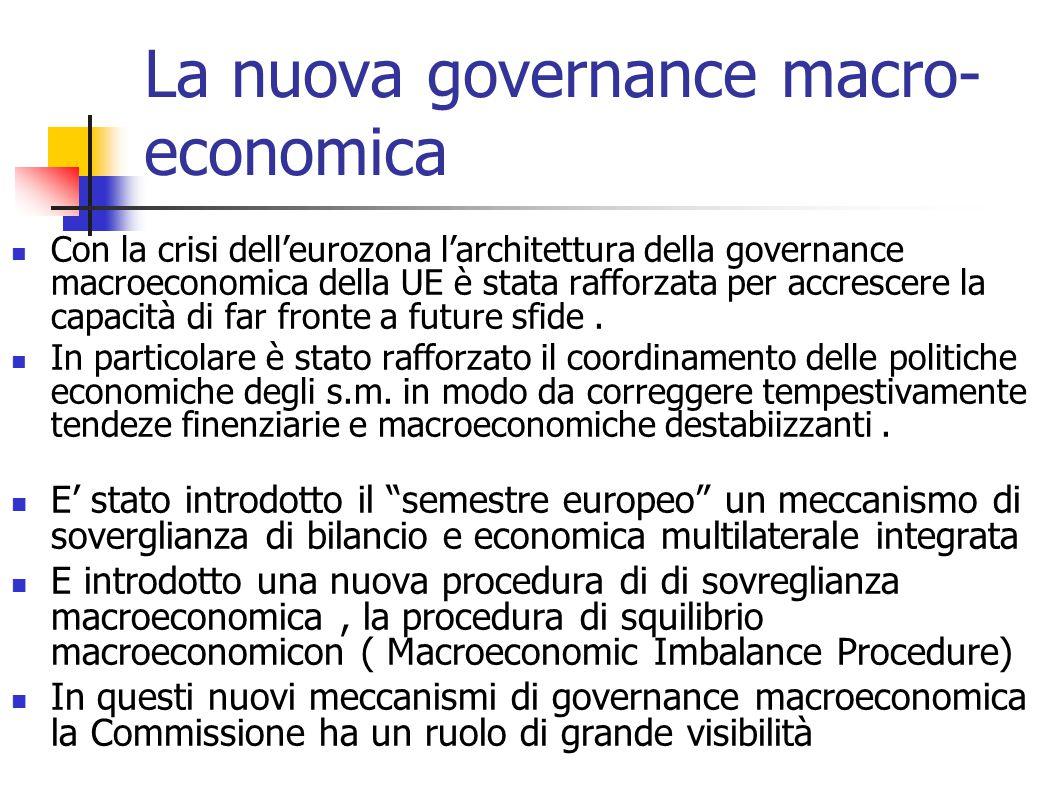 La nuova governance macro- economica Con la crisi dell'eurozona l'architettura della governance macroeconomica della UE è stata rafforzata per accrescere la capacità di far fronte a future sfide.