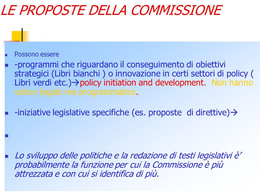Reazioni previste e iniziativa legislativa Per portare a buon fine un'iniziativa la Commissione deve comunque poter contare sul consenso degli s.m.