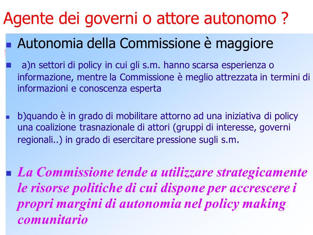 Commissione e nuova governance Ruolo di grande visibilità Il vero potere decisionale è del Consiglio con Commissione ridotta al ruolo di segretariato del Consiglio.