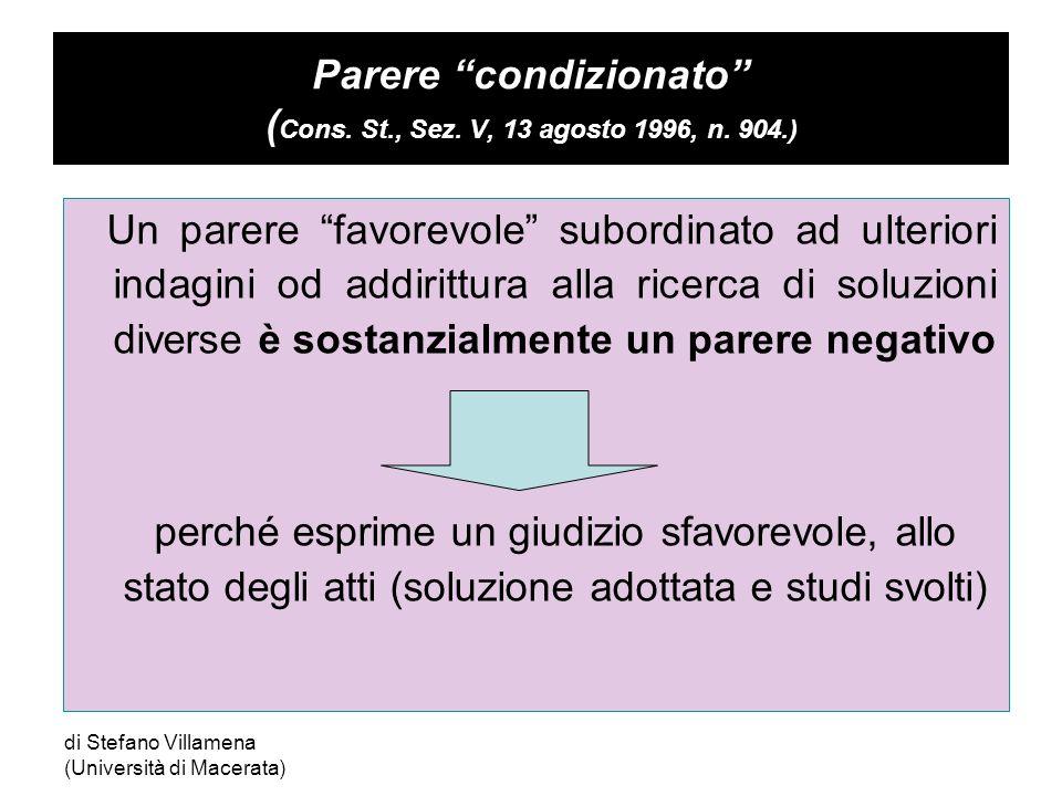 di Stefano Villamena (Università di Macerata) Parere condizionato ( Cons.