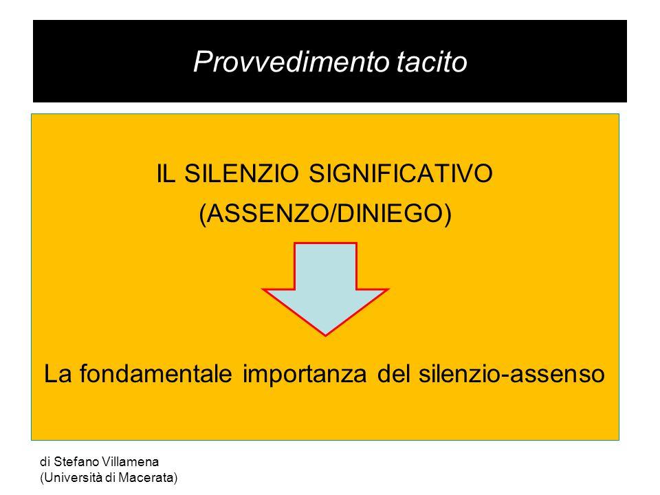 Provvedimento tacito IL SILENZIO SIGNIFICATIVO (ASSENZO/DINIEGO) La fondamentale importanza del silenzio-assenso di Stefano Villamena (Università di Macerata)