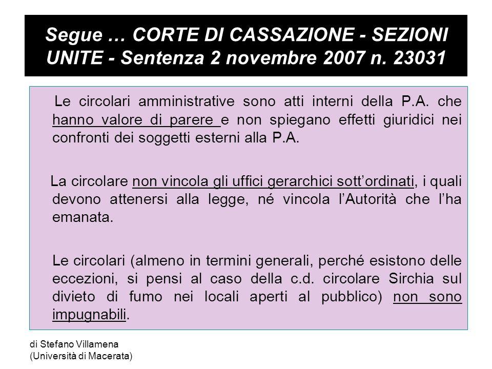 Segue … Circolari interpretative T.A.R.LAZIO - ROMA - SEZIONE III - Sentenza 10 luglio 2002 n.