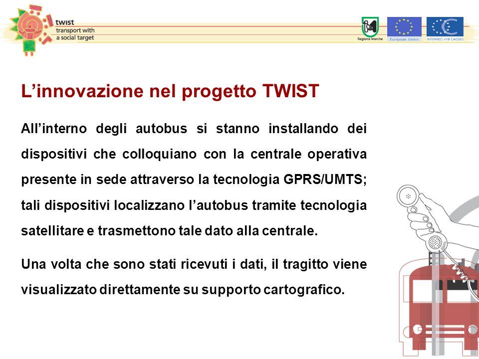 L'innovazione nel progetto TWIST All'interno degli autobus si stanno installando dei dispositivi che colloquiano con la centrale operativa presente in