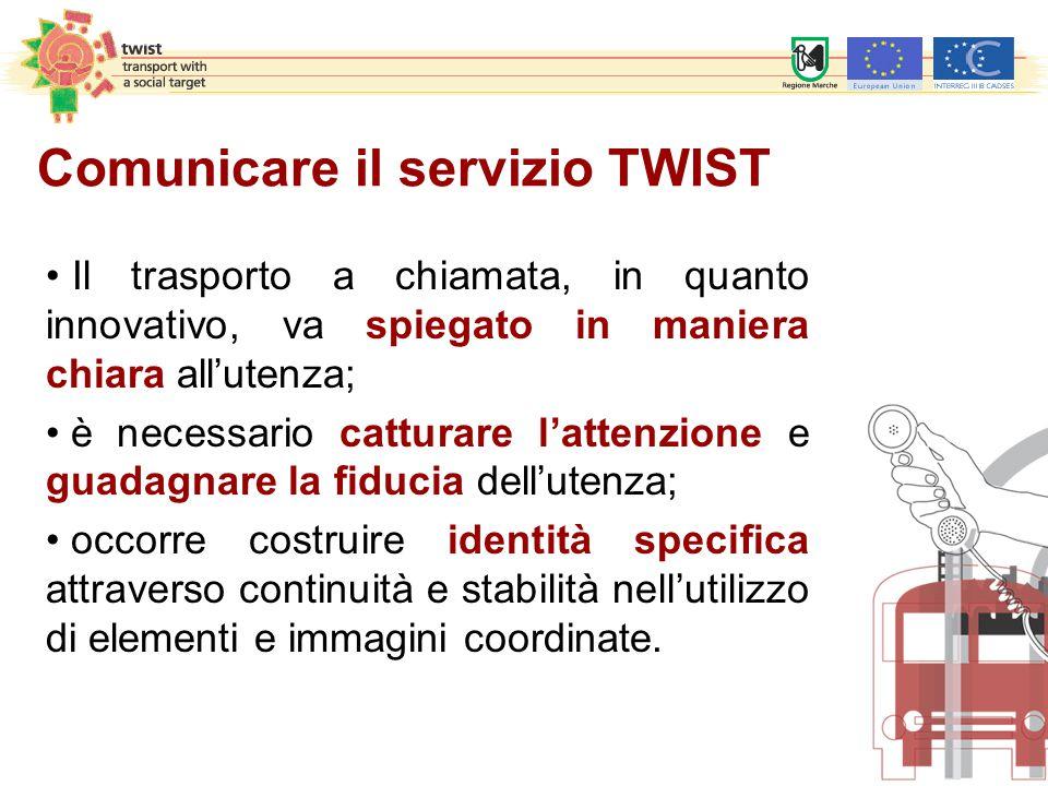 Comunicare il servizio TWIST Il trasporto a chiamata, in quanto innovativo, va spiegato in maniera chiara all'utenza; è necessario catturare l'attenzi