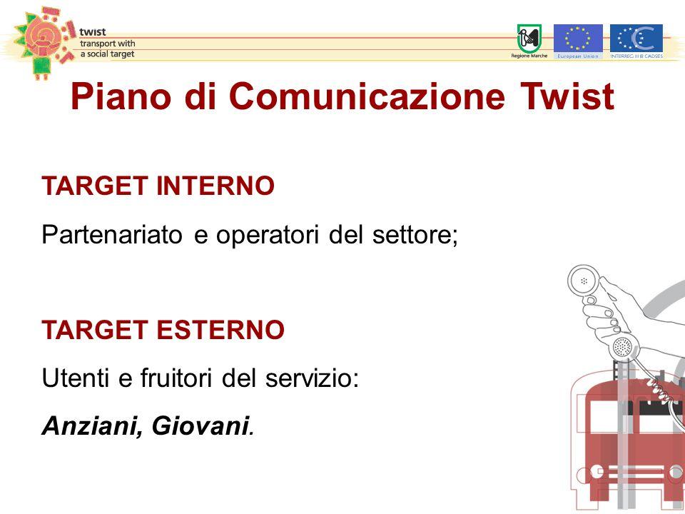 Piano di Comunicazione Twist TARGET INTERNO Partenariato e operatori del settore; TARGET ESTERNO Utenti e fruitori del servizio: Anziani, Giovani.