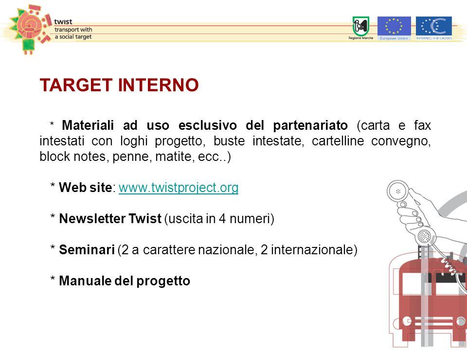 TARGET INTERNO * Materiali ad uso esclusivo del partenariato (carta e fax intestati con loghi progetto, buste intestate, cartelline convegno, block no