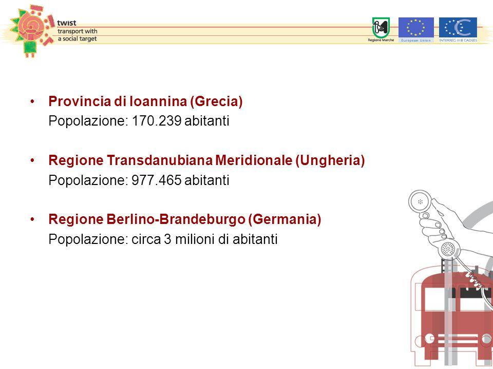 Provincia di Ioannina (Grecia) Popolazione: 170.239 abitanti Regione Transdanubiana Meridionale (Ungheria) Popolazione: 977.465 abitanti Regione Berlino-Brandeburgo (Germania) Popolazione: circa 3 milioni di abitanti