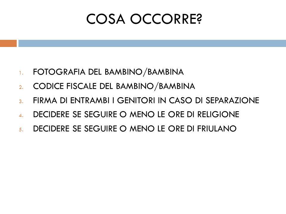 COSA OCCORRE. 1. FOTOGRAFIA DEL BAMBINO/BAMBINA 2.