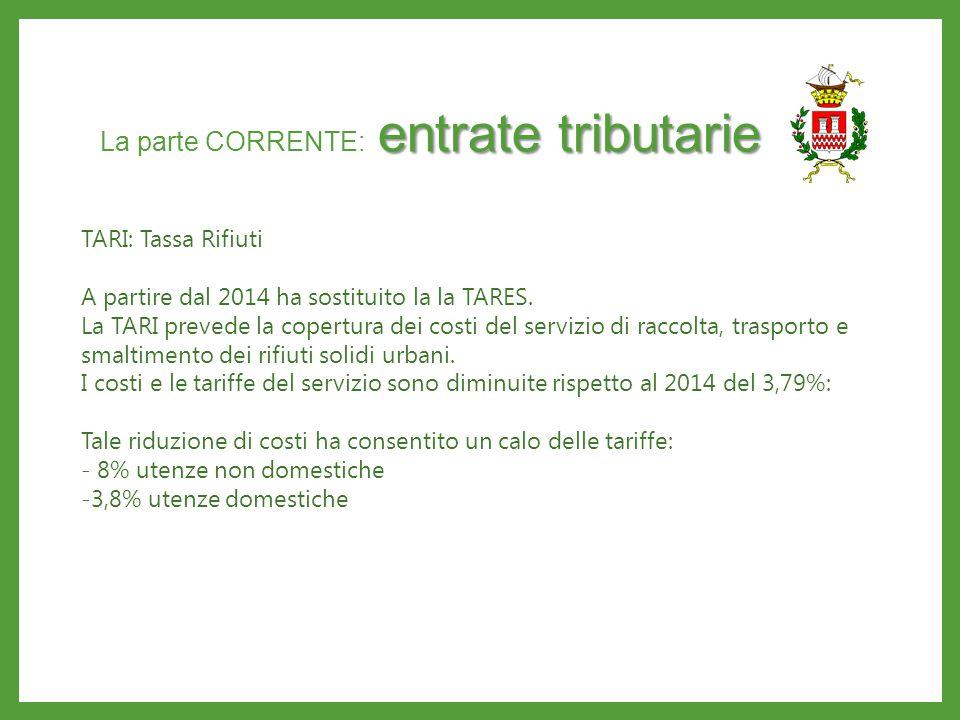 entrate tributarie La parte CORRENTE: entrate tributarie TARIFFE per SERVIZIO ACQUEDOTTO e FOGNATURA Non sono previsti aumenti di tariffe relative al servizio di acquedotto e fognatura rispetto al 2014.