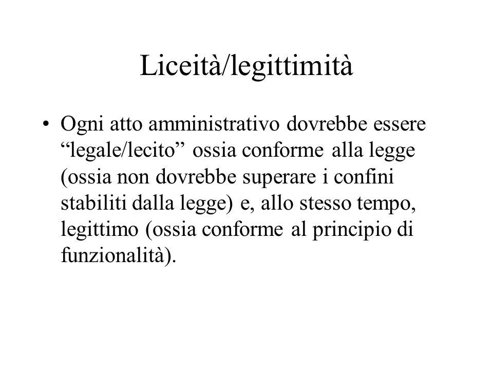 """Liceità/legittimità Ogni atto amministrativo dovrebbe essere """"legale/lecito"""" ossia conforme alla legge (ossia non dovrebbe superare i confini stabilit"""