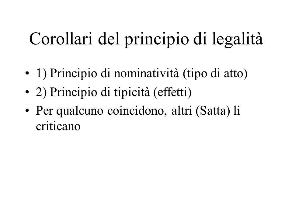 Corollari del principio di legalità 1) Principio di nominatività (tipo di atto) 2) Principio di tipicità (effetti) Per qualcuno coincidono, altri (Sat