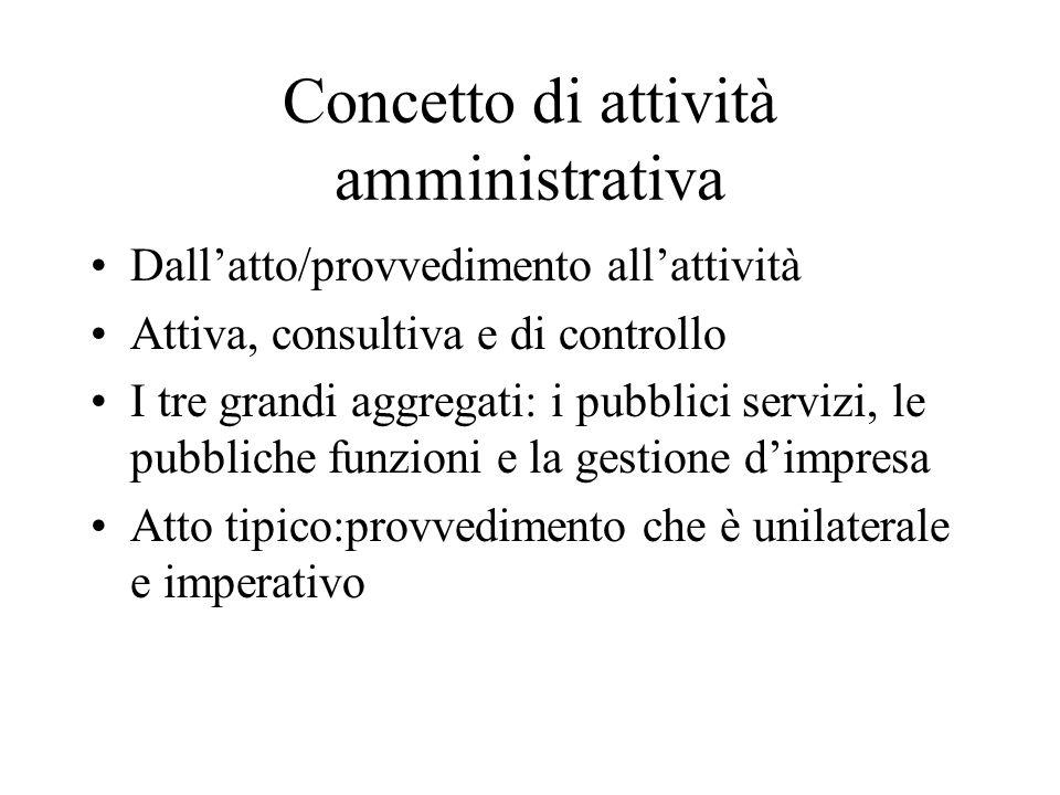 Concetto di attività amministrativa Dall'atto/provvedimento all'attività Attiva, consultiva e di controllo I tre grandi aggregati: i pubblici servizi,