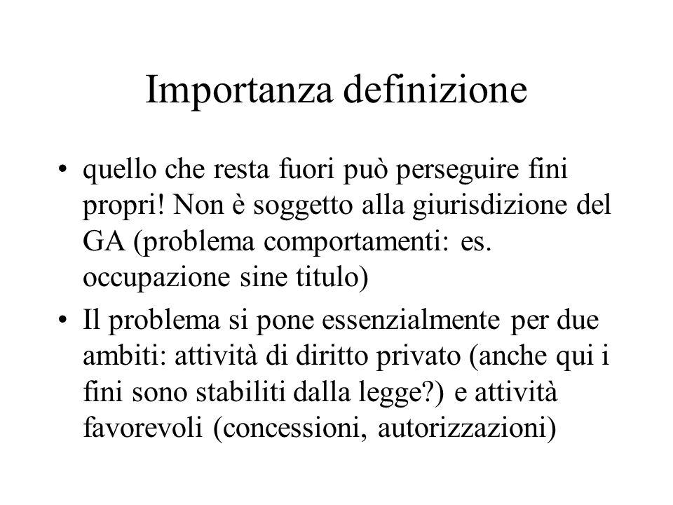 Importanza definizione quello che resta fuori può perseguire fini propri! Non è soggetto alla giurisdizione del GA (problema comportamenti: es. occupa