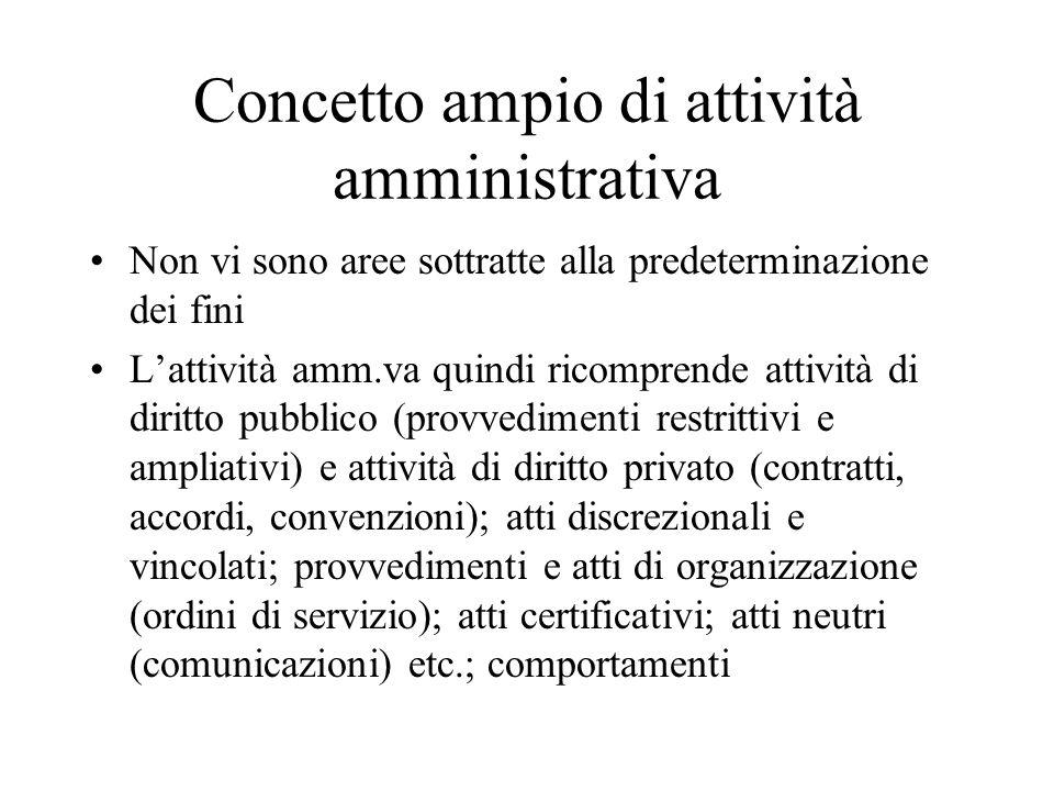 Concetto ampio di attività amministrativa Non vi sono aree sottratte alla predeterminazione dei fini L'attività amm.va quindi ricomprende attività di