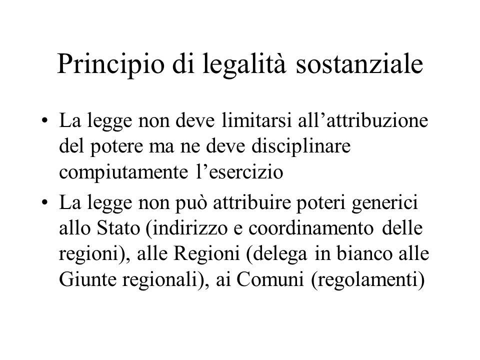 Principio di legalità sostanziale La legge non deve limitarsi all'attribuzione del potere ma ne deve disciplinare compiutamente l'esercizio La legge n