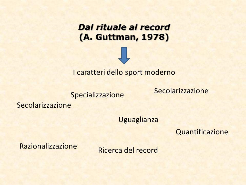Dal rituale al record (A. Guttman, 1978) I caratteri dello sport moderno Secolarizzazione Uguaglianza Specializzazione Razionalizzazione Quantificazio
