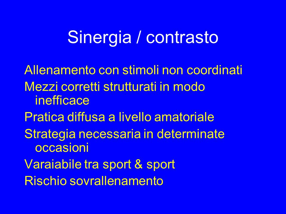 Fattori influenti sugli stimoli 1.Soggettività individuo/allenabilità 2.Tempo di applicazione/effetto degli stimoli 3.Interazione dei mezzi/stimoli 4.