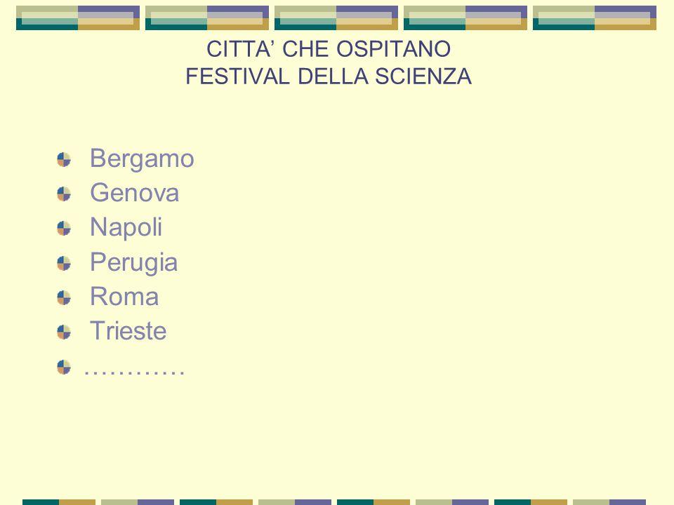 CITTA' CHE OSPITANO FESTIVAL DELLA SCIENZA Bergamo Genova Napoli Perugia Roma Trieste …………
