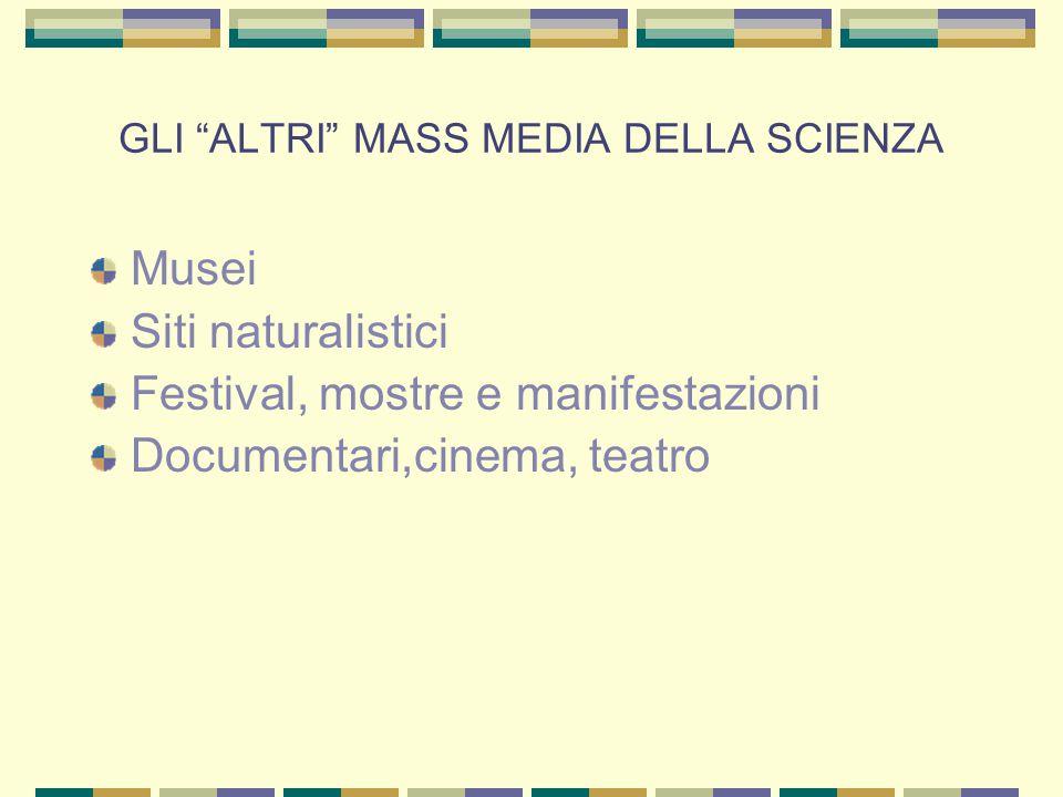 """GLI """"ALTRI"""" MASS MEDIA DELLA SCIENZA Musei Siti naturalistici Festival, mostre e manifestazioni Documentari,cinema, teatro"""