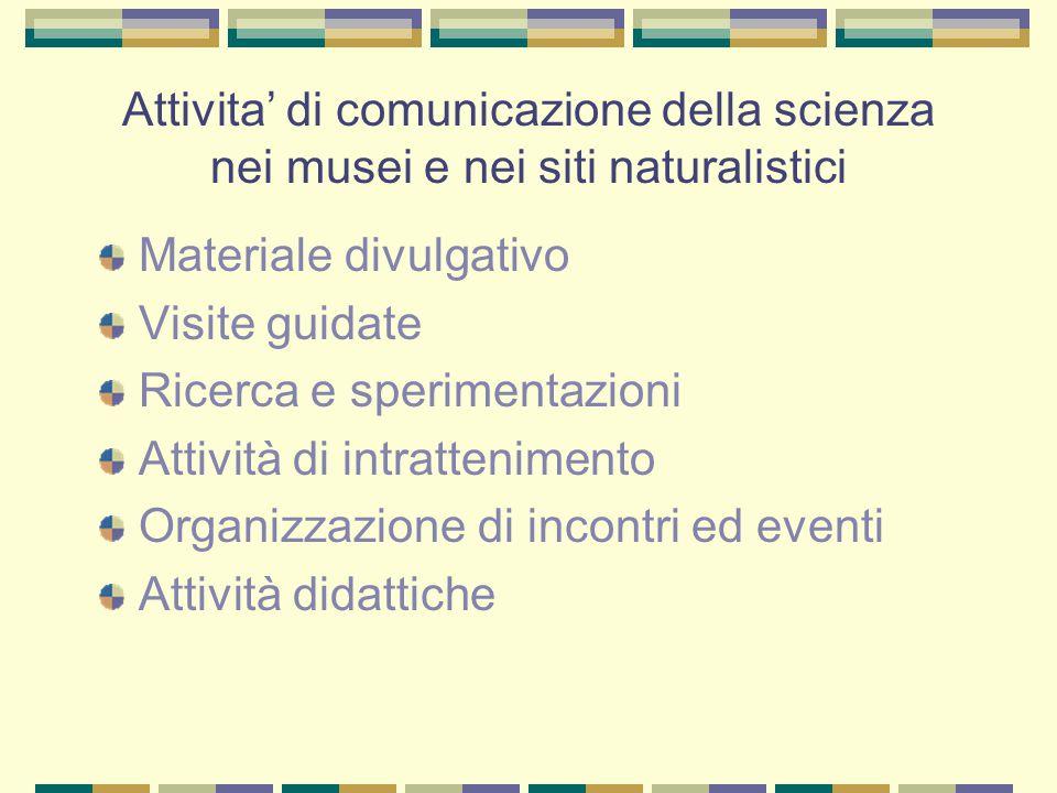 Attivita' di comunicazione della scienza nei musei e nei siti naturalistici Materiale divulgativo Visite guidate Ricerca e sperimentazioni Attività di