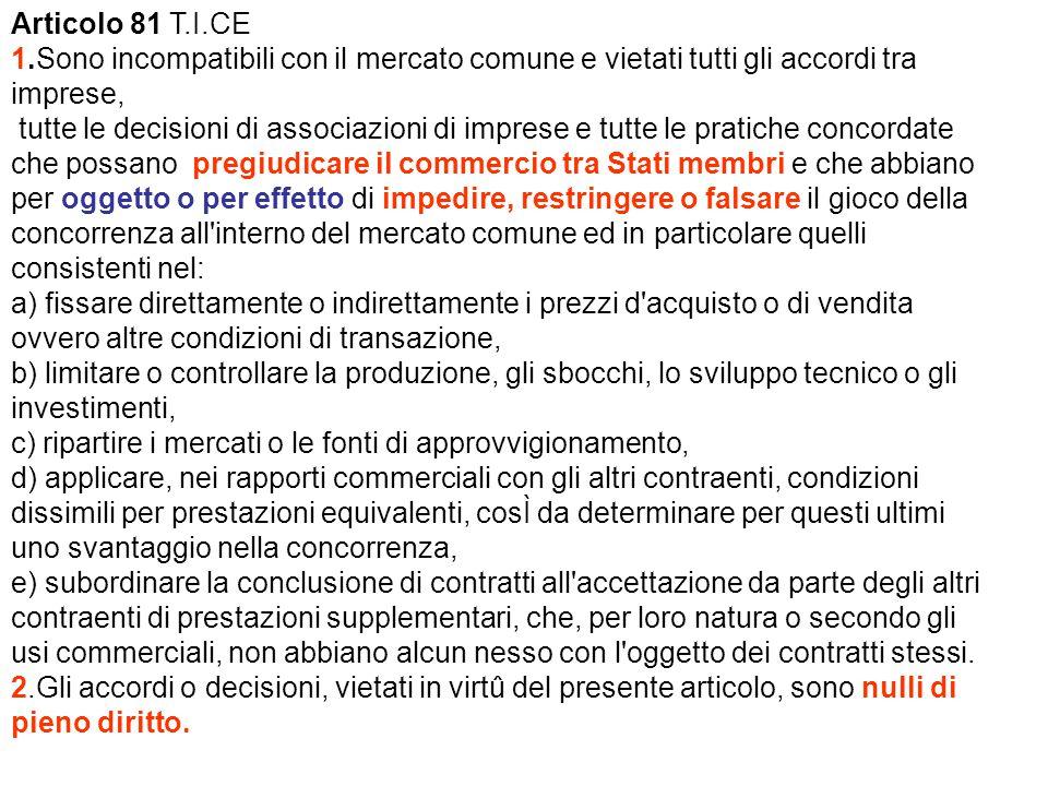 Articolo 81 T.I.CE 1.Sono incompatibili con il mercato comune e vietati tutti gli accordi tra imprese, tutte le decisioni di associazioni di imprese e