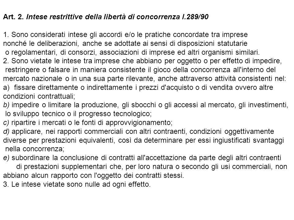 Art. 2. Intese restrittive della libertà di concorrenza l.289/90 1. Sono considerati intese gli accordi e/o le pratiche concordate tra imprese nonché