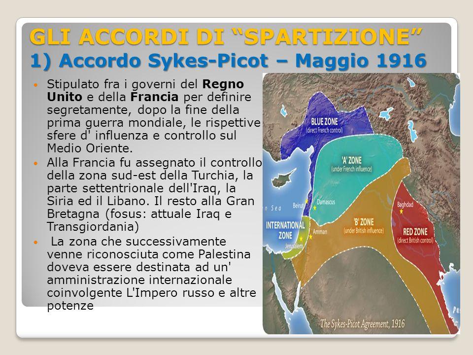 """GLI ACCORDI DI """"SPARTIZIONE"""" 1) Accordo Sykes-Picot – Maggio 1916 Stipulato fra i governi del Regno Unito e della Francia per definire segretamente, d"""