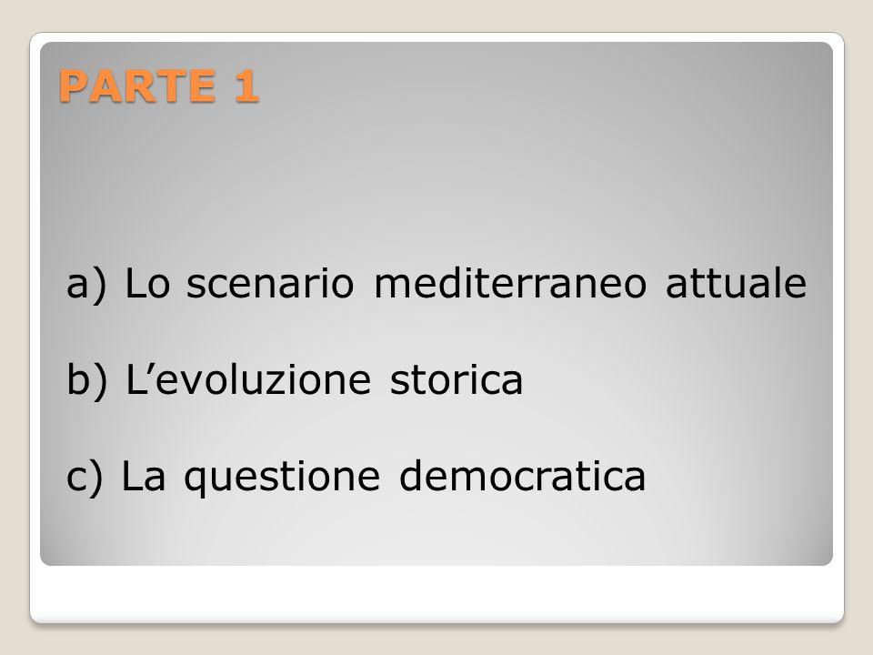 PARTE 1 a) Lo scenario mediterraneo attuale b) L'evoluzione storica c) La questione democratica