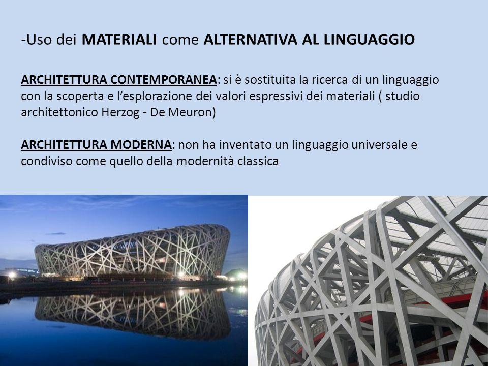 -Uso dei MATERIALI come ALTERNATIVA AL LINGUAGGIO ARCHITETTURA CONTEMPORANEA: si è sostituita la ricerca di un linguaggio con la scoperta e l'esplorazione dei valori espressivi dei materiali ( studio architettonico Herzog - De Meuron) ARCHITETTURA MODERNA: non ha inventato un linguaggio universale e condiviso come quello della modernità classica