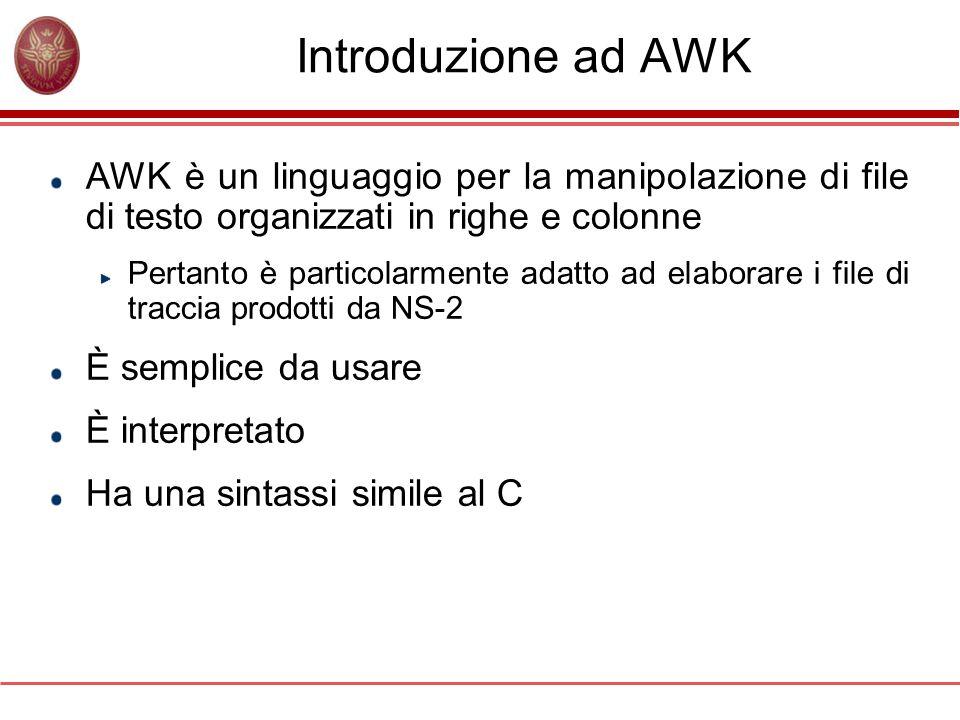 Introduzione ad AWK AWK è un linguaggio per la manipolazione di file di testo organizzati in righe e colonne Pertanto è particolarmente adatto ad elaborare i file di traccia prodotti da NS-2 È semplice da usare È interpretato Ha una sintassi simile al C