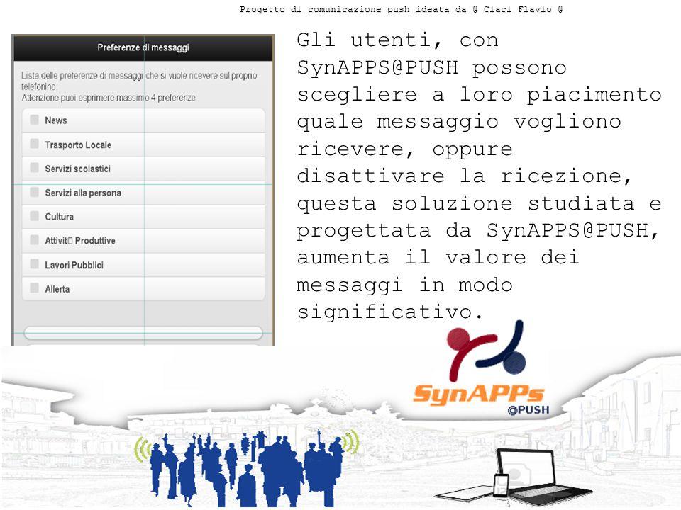 Gli utenti, con SynAPPS@PUSH possono scegliere a loro piacimento quale messaggio vogliono ricevere, oppure disattivare la ricezione, questa soluzione studiata e progettata da SynAPPS@PUSH, aumenta il valore dei messaggi in modo significativo.