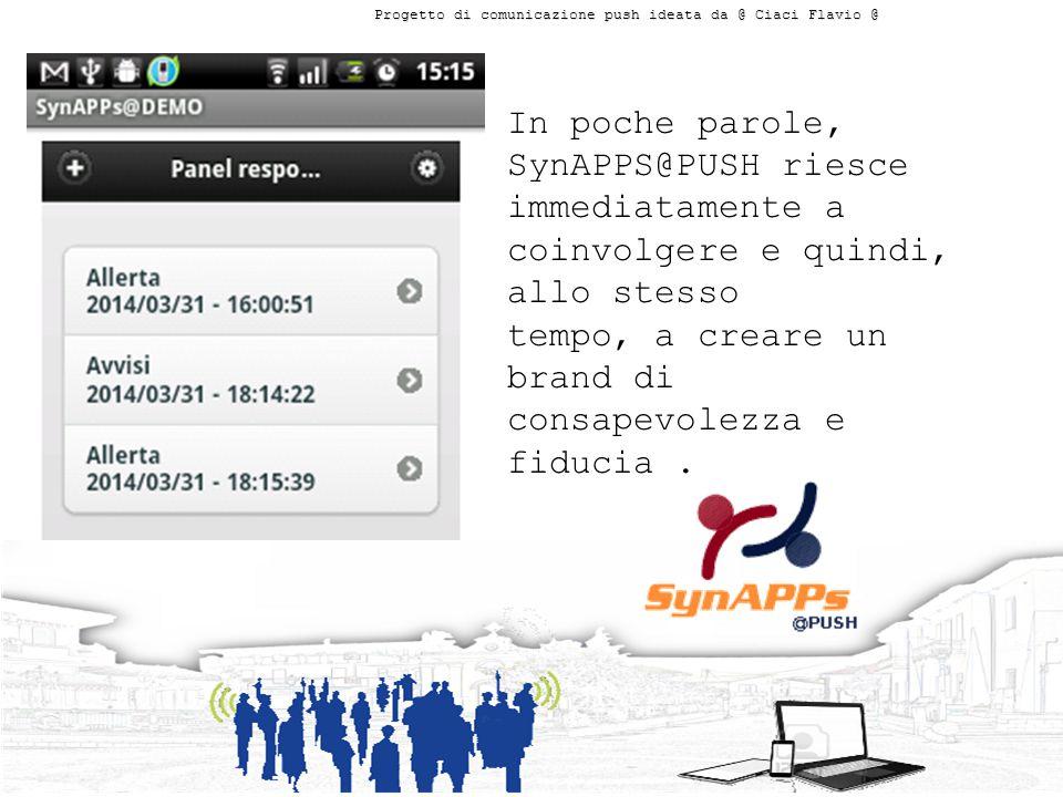 In poche parole, SynAPPS@PUSH riesce immediatamente a coinvolgere e quindi, allo stesso tempo, a creare un brand di consapevolezza e fiducia.