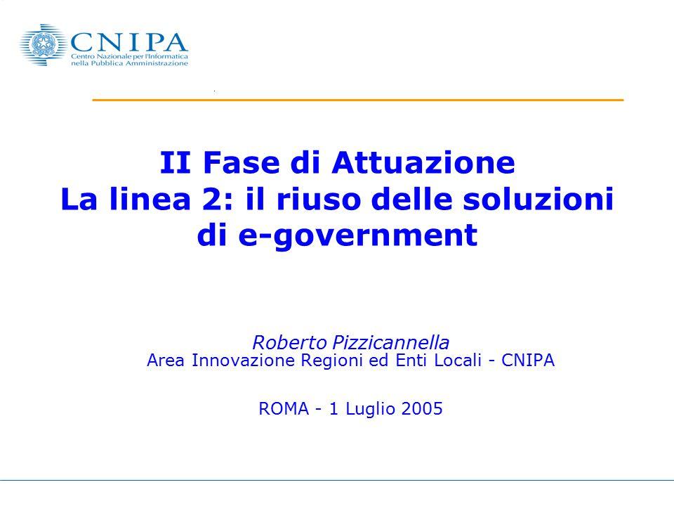 II Fase di Attuazione La linea 2: il riuso delle soluzioni di e-government Roberto Pizzicannella Area Innovazione Regioni ed Enti Locali - CNIPA ROMA - 1 Luglio 2005