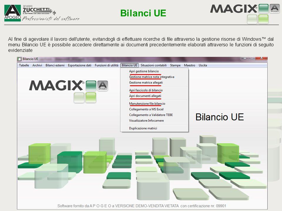 Al fine di agevolare il lavoro dell'utente, evitandogli di effettuare ricerche di file attraverso la gestione risorse di Windows™ dal menu Bilancio UE