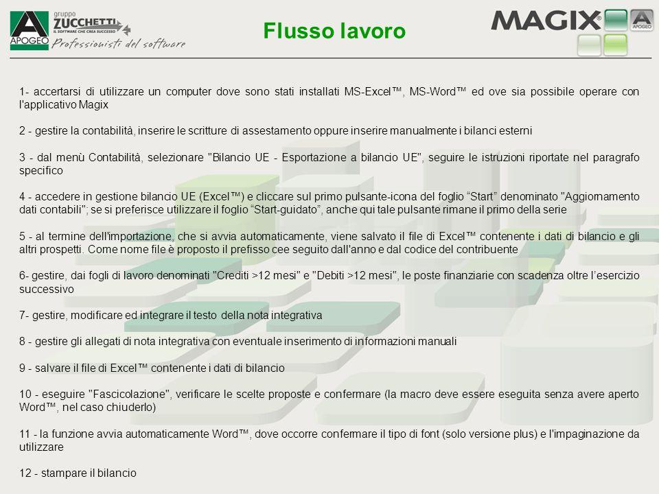 1- accertarsi di utilizzare un computer dove sono stati installati MS-Excel™, MS-Word™ ed ove sia possibile operare con l'applicativo Magix 2 - gestir